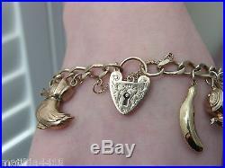 9ct GOLD CHARM BRACELET & CHARMSHeart Padlock & Safety Chain 31 GramsVintage