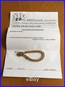9ct GOLD, CURB CHAIN BRACELET, charm style, WITH PADLOCK. 35.2g