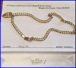 9ct GOLD, GENTS 22 CURB CHAIN. 53.6g