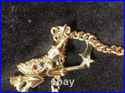 9ct GOLD HEAVY ARTICULATED FLYING WITCH Pendant W GEMSTONES ON CHAIN 18.5grm