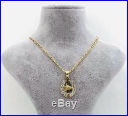 9ct GOLD HORSESHOE HORSEHEAD CHAIN PENDANT VINTAGE GREAT CONDITION