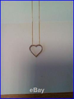 9ct GOLD LARGE HEART PENDANT & CHAIN 56 DIAMONDS
