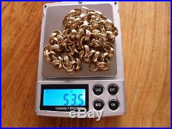 9ct GOLD SOLID BELCHER CHAIN 53.5 grams TODAY'S PRICE