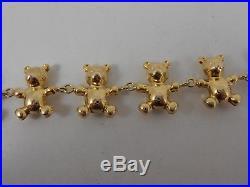 9ct GOLD TEDDY BEAR FANCY LINK BRACELET FULL ENGLISH HALLMARKS UNUSUAL