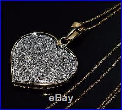 9ct Gold 1.00ct Diamond Heart Large Pendant & Chain UK Hallmarked