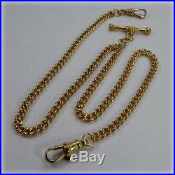 9ct Gold 15.5 Double Albert and T-Bar Chain