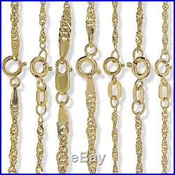 9ct Gold 16 18 20 22 24 Singapore Flat Curb Rope Link Chain Necklace Gift Box