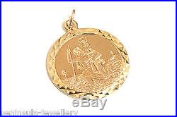 9ct Gold 19mm St Christopher Pendant and 18 inch Chain Gift boxed Hallmarked