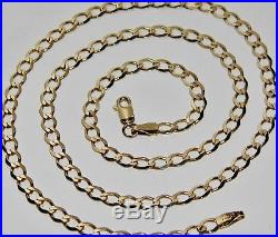 9ct Gold 20 inch Solid Curb Chain / Necklace Men's or Ladies 7.7 grams