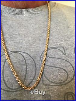 9ct Gold 375 18 grams Gold Rope Necklace Chain Rose Tint not Scrap 28
