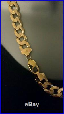 9ct Gold 375 Hallmarked Heavy Solid Mens Flat Curb Chain Approx 22 Inch 88g