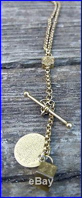 9ct Gold Antique Early Albertina Victorian Watch Chain, T Bar, Fobs & a Prayer