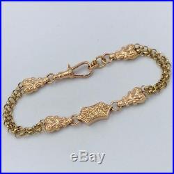 9ct Gold Art Nouveau Design Double Chain Link Bracelet #396