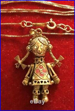 9ct Gold Articulated Rag doll pendant on a chain