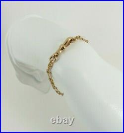 9ct Gold Bracelet Rose Rope & Bar Link Antique Victorian 7.75'' 7.4grams