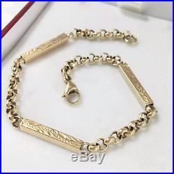 9ct Gold Bracelet Yellow Gold Fancy Patterned 9K Bar Links 7.75 Inch UK HM 6.6g