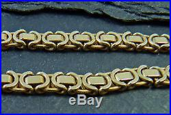 9ct Gold Byzantine Link Chain Necklace 18 inch 9K 22g