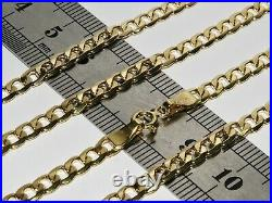 9ct Gold CURB Chain 4MM 16 18 20 22 24 inch