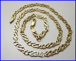 9ct Gold Chain / 18 Inch / Fancy Flat Link/ Yellow Gold / Necklace