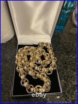 9ct Gold Chain Huge Heavy Chunky Belcher Fully Hallmarks 28 Inch 378g