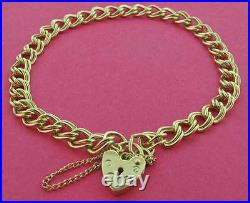 9ct Gold Charm Bracelet Solid Heavy Double Curb Link Heart Padlock Gift Box