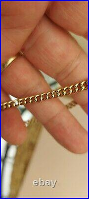 9ct Gold Chunky vintage Albert Chain Bracelet 7.5 INCHES Long Stunning