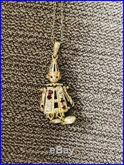 9ct Gold Clown Pendant With Chain