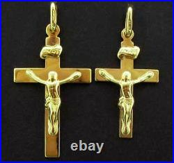 9ct Gold Crucifix Cross Jesus Solid Pendant Rosary Medal Charm Chain Gift Box