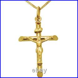 9ct Gold Crucifix Cross Pendant Necklace With 18 Gold Chain
