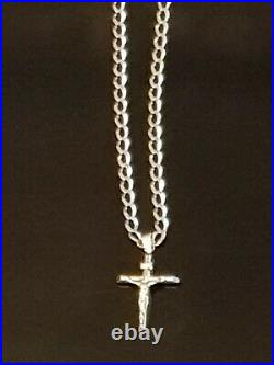 9ct Gold Curb Chain 22 And 9ct Gold Cross Lovely Items Both Stamped (not Scrap)