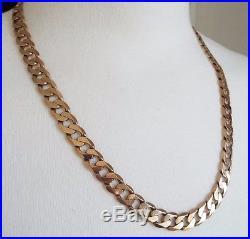 9ct Gold Curb Chain. 23 inch. Full English Hallmarks. 64 grams. 2 OZ Boxed
