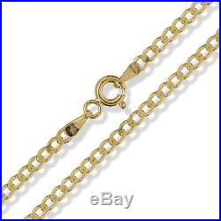 9ct Gold Curb Chain Diamond Cut 375 Yellow Solid Link Pendant Necklace Gift Box