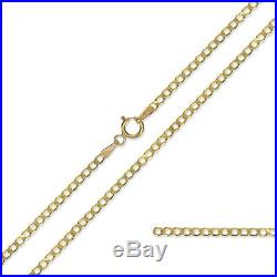 9ct Gold Curb Chain Diamond Cut Flat Curb Link Chain Pendant Necklace Gift Boxed