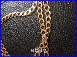 9ct Gold Curb Chain Necklace Unisex 20`inch 5mm(w) 7.6g Good Condition