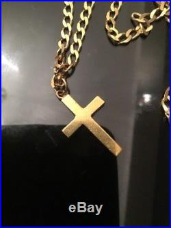 9ct Gold Curb Chain With Solid Cross. Hallmarked