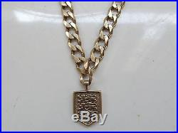 9ct Gold Curb Chain with 3 lions Fob 55cm Long 54.1 Grams