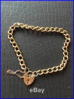 9ct Gold Curb Link Bracelet with Heart Padlock & Saftey Chain