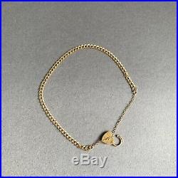 9ct Gold Curb Link Chain Charm Bracelet Heart Padlock Hallmarked 7