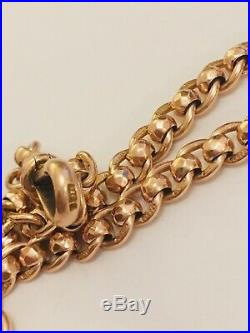 9ct Gold Curb Rollerball Bracelet Albert Chain 7 And 3/4 Inches 11.21 Grams