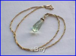 9ct Gold Diamond Faceted Green Amethyst Pendant And Twist Chain