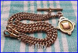 9ct Gold, Double Albert Chain & uninscribed 9ct Gold Fob Medal, 30 grams