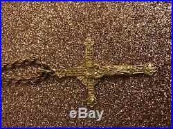 9ct Gold Double Sided Crucifix Pendant On 24 inch Rope Chain