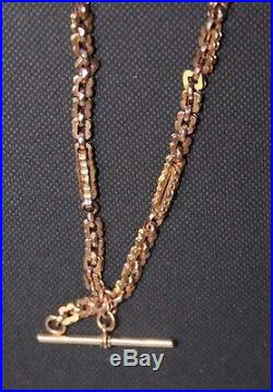 9ct Gold Fancy Link Watch Chain with Double Swivel 13.5 Long 12.7G Weight