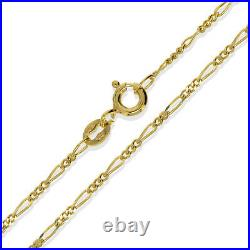 9ct Gold Figaro Chain 16 18 20 22 D/c Cut Curb Link Pendant Necklace Boxed