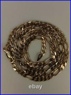 9ct Gold Figaro Chain Necklace (Similar To Curb Chain)