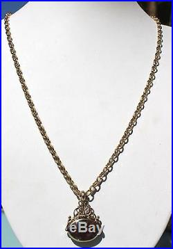 9ct Gold Flat Belcher Chain & Swivel Fob Necklace, Solid Heavy, 24 Inch 60 CM 9k