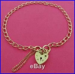 9ct Gold Flat D/c Curb Link Charm Bracelet Heart Padlock Charms Safety Chain