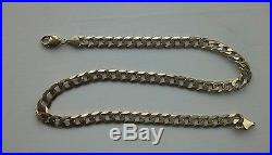 9ct Gold Flat Hammered Curb Chain Necklace 20 inch