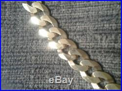 9ct Gold Flat Hammered Curb Chain Necklace 20 inch, 16 grams