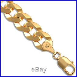 9ct Gold Flat Hammered Curb Chain Necklace 24 inch